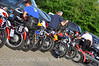 Each rider has his or her own way of getting the bike set up for the distance.  This years route features 5 days and almost 60 hours of scheduled riding - things like gel seats, tank bags and rain suits must be accomodated because the bikes are small and space (and horsepower) is precious