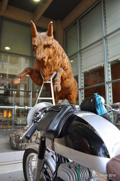 "That's the Bull at the entrance to the hotel, and Gabriel's Bultaco, saying ""hi"""