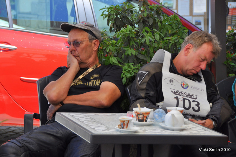 Ten plus hour days of riding took it's toll.  Even the strong Italian coffee wasn't always enough!