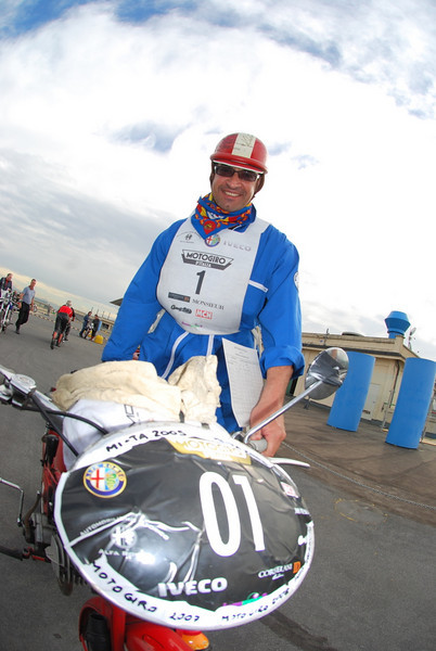 Gianni Mostosi and his 1952 Moto Guzzi Moto Leggara 65cc are back this year