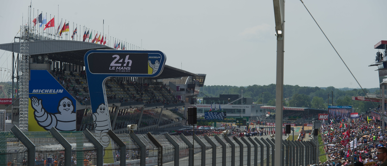 View of Pit Straight from Tribune 11 - Wimille