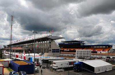 Le Mans grandstands and garages