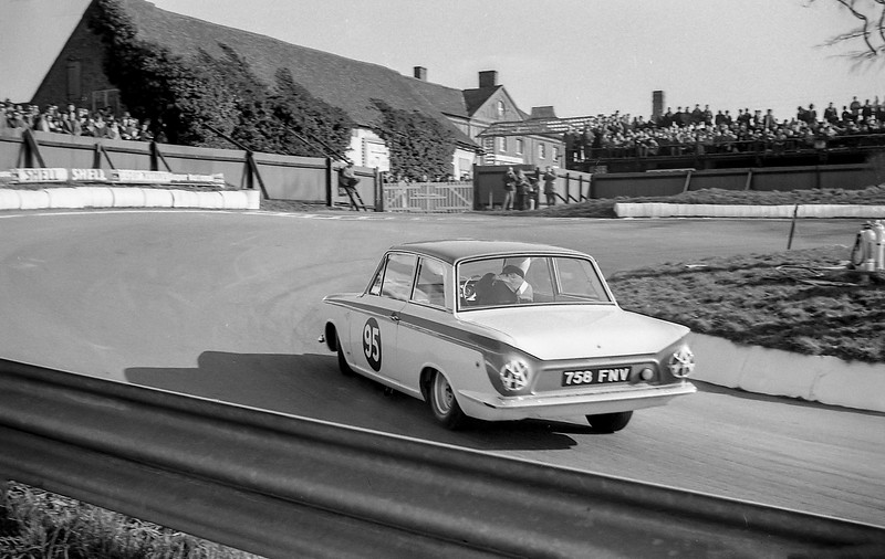 Lotus-Cortina at the hairpin at Mallory Park, 1964