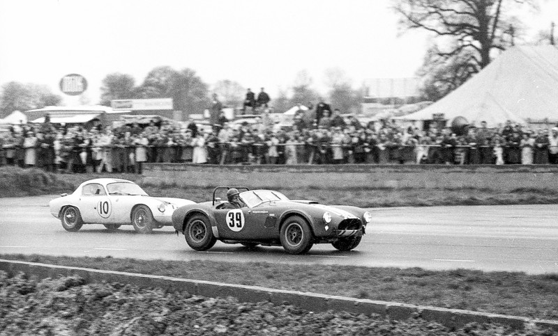 AC Cobra and Lotus Elite, Silverstone, early 60s