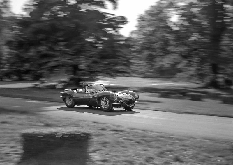 Jaguar XKSS, Chateau Impney 1962(?). Note the luggage rack: just the car for a quick weekend away.