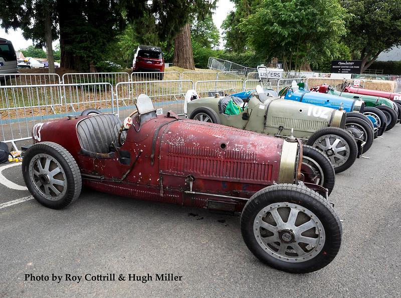 Foreground, Bugatti T35C: Tim Dutton; behind, Bugatti T35B: Chris Hudson