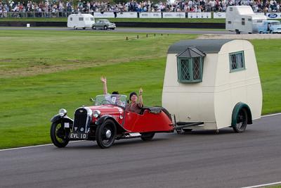 1950 - Morgan Three-Wheeler Towing a 1948 - Bristol Wing Caravan