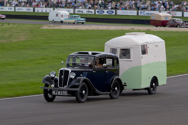 1935 - Morris Eight Towing a 1933 - Bampton  East-Tow Caravan
