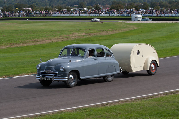1952 - Standard Vanguard Towing a 1948 - Teardrop Replica Caravan
