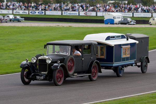 1928 Sunbeam Weymann Towing a 1929 Eccles Caravans & Kennel Van
