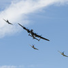 Avro Lancaster and three Supermarine Spitfires (Battle of Britain Memorial Flight)