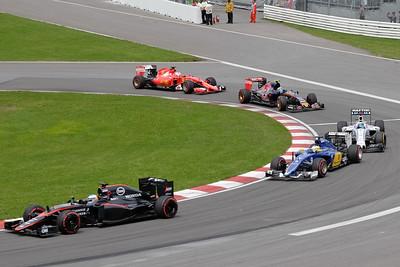 Five cars Senna corner