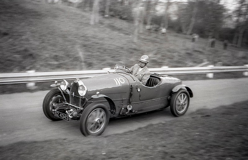Hugh Conway, a stalwart of the Bugatti Owners' Cub, one of the founders of the Bugatti Trust, in a type 43 Bugatti at Prescott, May 1963