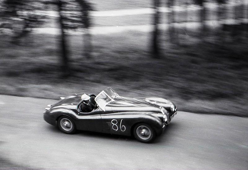J P Chapman Jaguar XK (140, I think) Prescott, September 1962