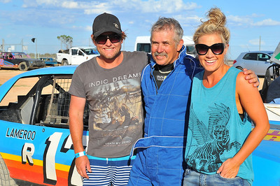 House Rules winners, Carly and Leighton with Carlys father Adrian at Riverland Speedway Sunday night.  Adrian Schulz was racing on the night.