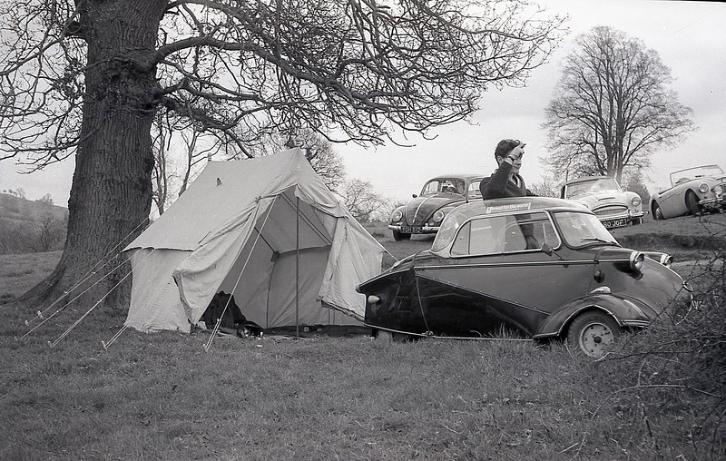 Hugh leaning on Roy's Messerschmidt. May 1963