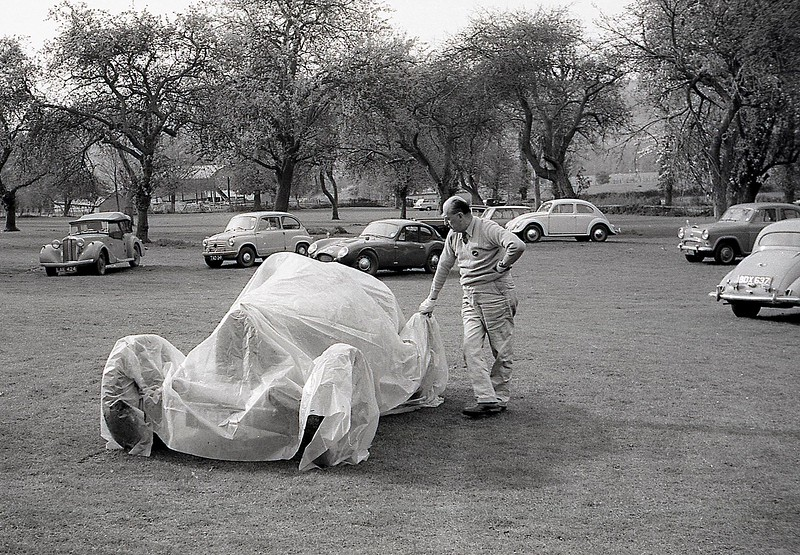 Jack Lemon Burton leans an affectionate hand on a GP Bugatti (possibly a 35)  September 1962....