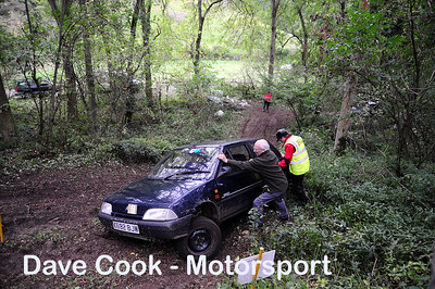 Class 1 No. 1 Colin Francis and Roy Coventry - Citroen AX get stuck on a tree stump.