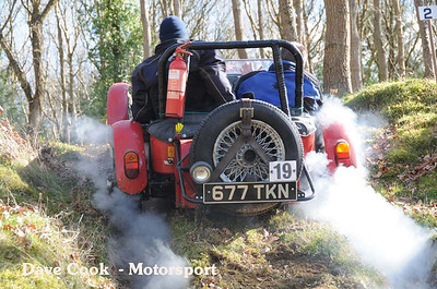 Russel Clarke in a Troll, fails just short of the summit in a cloud of tyre smoke