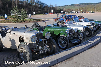 A variety of Open cars, Adrian Dommet's Wolsley Hornet,  Bill Bennet's MG J2, Adrian Linnecor's Cannon, David Bache's Dellow and Colin Biles' MG Midget