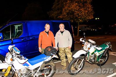 D72_4865 Start -   No. 12, Graham Lloyd:  Class B Yamaha XT500 and No. 13, Carl Kiddle:  Class B Yamaha Serow
