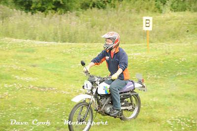 The smallest bike on the trial, Richard Copley's Kawasaki KE100.