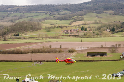 A sight no one wants to see, the Air ambulance landing at an event.