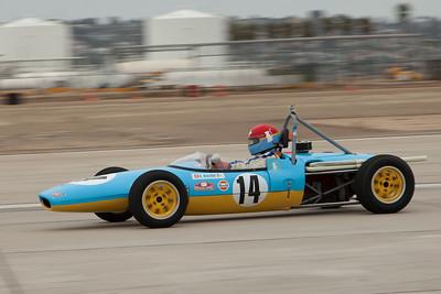 Artist Nicolas Hunziker in his 1969 Lotus 51C.