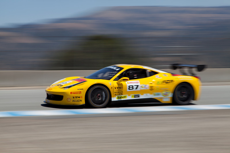 Rich Baek races up Rahal Straight in the #87 Ferrari 458 EVO. © 2014 Victor Varela