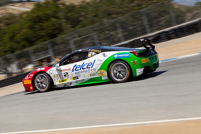 2nd race winner, Ricardo Perez heads down the Corkscrew in the #2 Ferrari 458 EVO. © 2014 Victor Varela