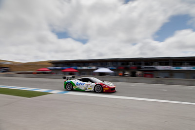 Ricardo Perez races down the front straight in the #2 Ferrari 458 EVO. © 2014 Victor Varela