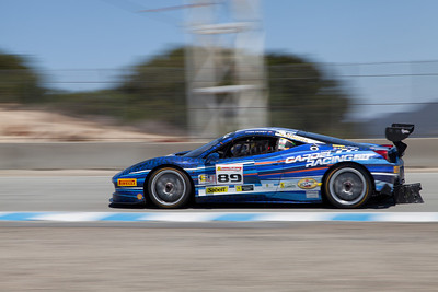 Ryan Ockey races towards the Corkscrew in the #89 Ferrari 458 EVO. © 2014 Victor Varela