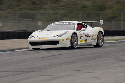 Patrick Byrne puts the power down as he heads down the front straight in the #17 Ferrari 458 EVO. © 2014 Victor Varela