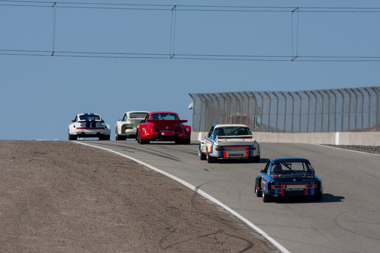 Jeff Zwart - Porsche 911 Carerra RSR, leads the pack up Rahal Straight