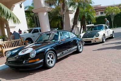 Prime parking - (L-R) 1970 Porsche 911, 1976 Porsche 911