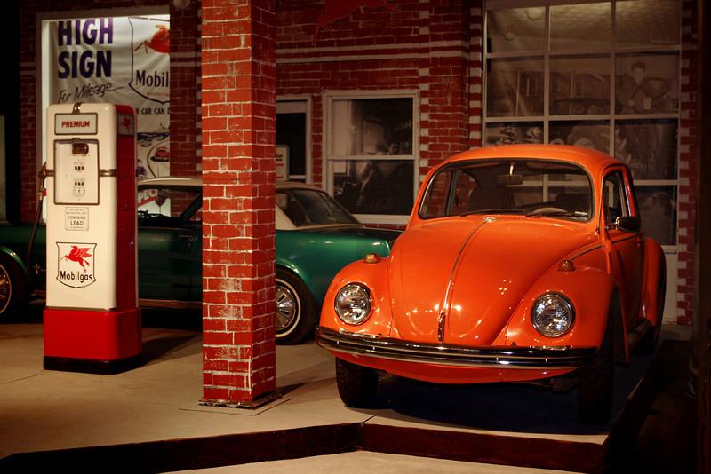 Orange Volkswagen Beetle. Auto World Museum, Fulton, Missouri.