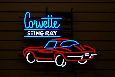 Neon sign - Corvette. Branson Auto Museum