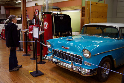 Rita checking out a 1955 Chevy Bel Air hardtop at the Branson Auto Museum