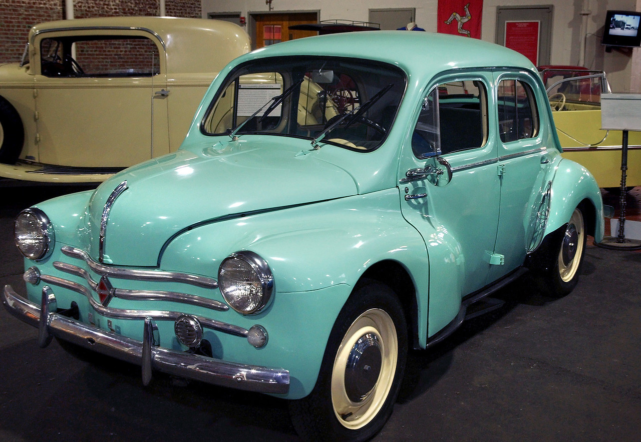 """1960 Renault 4CV; Lane Motor Museum, Nashville, Tennessee. From their website:<br /> <br /> """"The 4CV symbolizes Renault's rebirth following massive bomb damage during World War II. Following development work conducted under cover during the German occupation, the 4CV was finally unveiled to the public at the first post-war Paris Motor Show. It was an immediate success, as it became the symbol of new-found liberty after five years of bitter conflict. The 4CV, launched in 1946, was the first French car to top production of a million units and is one of the smallest 4-door saloons ever made. <br /> Its dimensions are: <br /> Length: 10' 8"""" width: 4' 6"""" height: 4' 4"""" weight: 1,232 pounds"""""""
