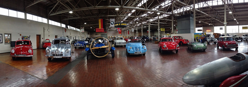 "Lane Motor Museum, Nashville, Tennessee. Rita took this panorama with her iPhone. <br /> <br /> Unlike some museums, in this one you can approach the cars closely from all sides. Well worth the visit, and their website is pretty good, too:<br /> <br /> <a href=""http://www.lanemotormuseum.org/"">http://www.lanemotormuseum.org/</a>"