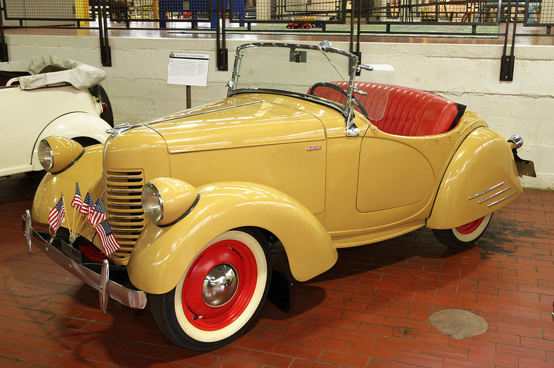 "1940 American Bantam Roadster; Lane Motor Museum, Nashville, Tennessee. From 1930-1934 the American Austin Car Company made cars based on the English Austin 7 chassis. Reorganized in 1936 as the American Bantam Car Company. The Bantam bodies were designed by Alexis de Sakhnoffsky and made by the Hayes Body Company of Detroit, with final assembly in Butler, Pennesylvania. <br /> <br /> For an interesting history of Bantam's contribution to the creation of the Jeep, read here:<br /> <a href=""http://www.allpar.com/history/bantam-jeep.html"">http://www.allpar.com/history/bantam-jeep.html</a>"