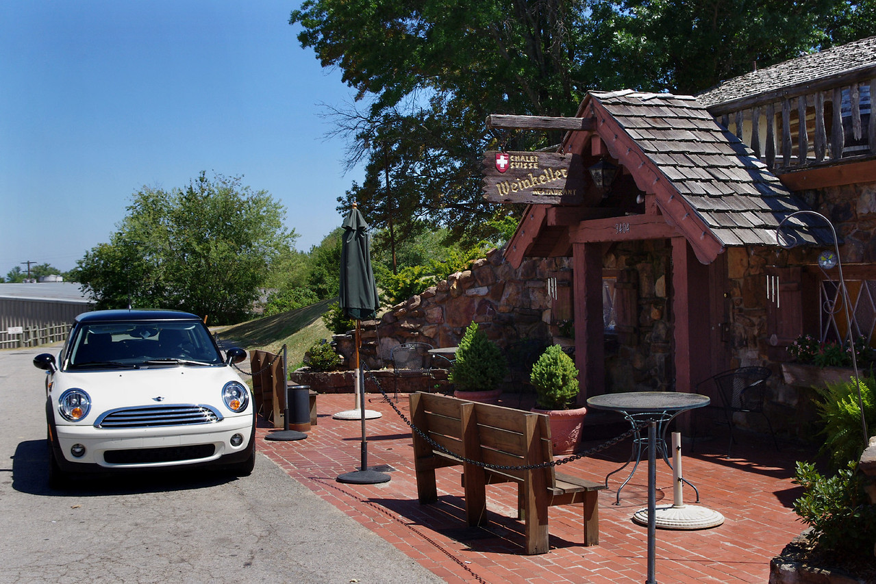 Where does one drive a British car for Swiss dining? Arkansas, of course. Weinkeller Restaurant at Wiederkehr Village, Arkansas.