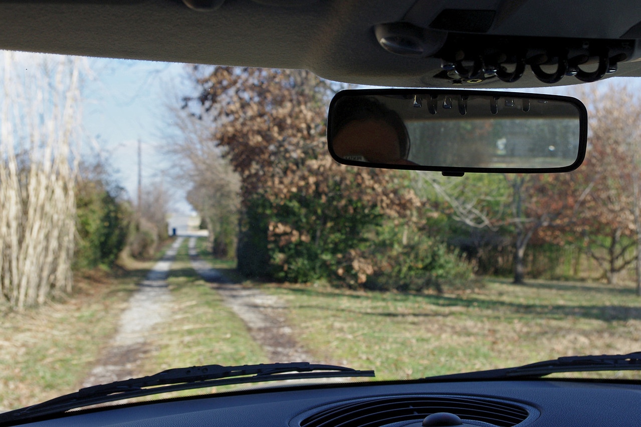 """Windshield-mount rear view mirror, view from the driver's position. This aftermarket mirror - """"Pilot"""" brand, 8"""" - was purchased at my local Auto Zone store, and replaces the MINI (older version) OEM mirror, which was getting too loose on it's mount.<br /> <br /> This was definitely a cheaper option - less than $20.00, total."""