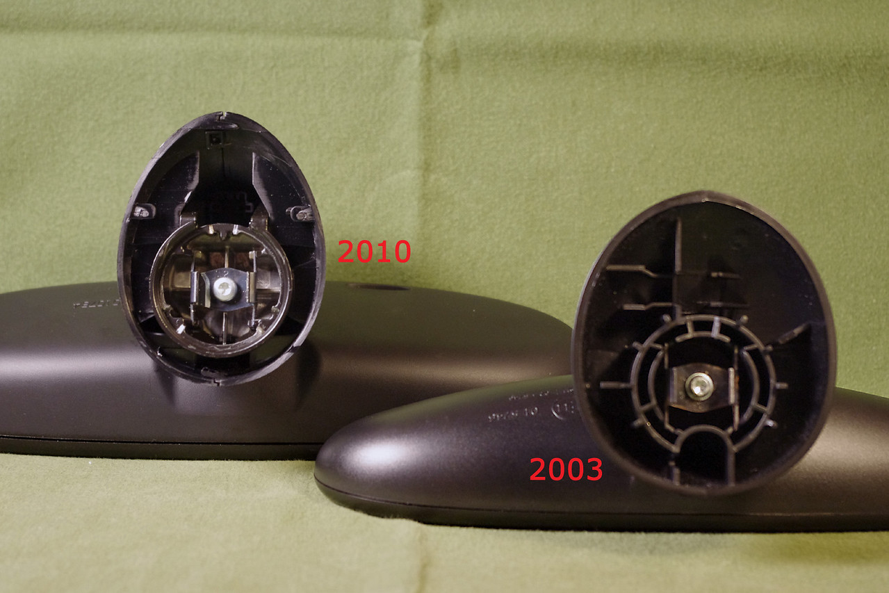 Comparison of mounting hardware.<br /> <br /> While the mounts look different, as far as I know, all models of MINI rear view mirrors will physically interchange between 2002 and 2010 (ignoring any electronics associated with the mirror).<br /> <br /> I'm not documenting changes in compatibility of the various electrical components that have been hidden in the mirror over the years except to say the receiver for the remote door locks is built into the 2010 model, and that componet will not fit into the 2004 and earlier mirrors.<br /> <br /> Update; The older mirror worked fine on my R56 for several months. If I had put it on and left it alone, it would have been OK, but I got in the habit of removing it for longer road trips, and the mount got all loose and wiggly. Ultimately, I went to an after market mirror which glues to the windshield.
