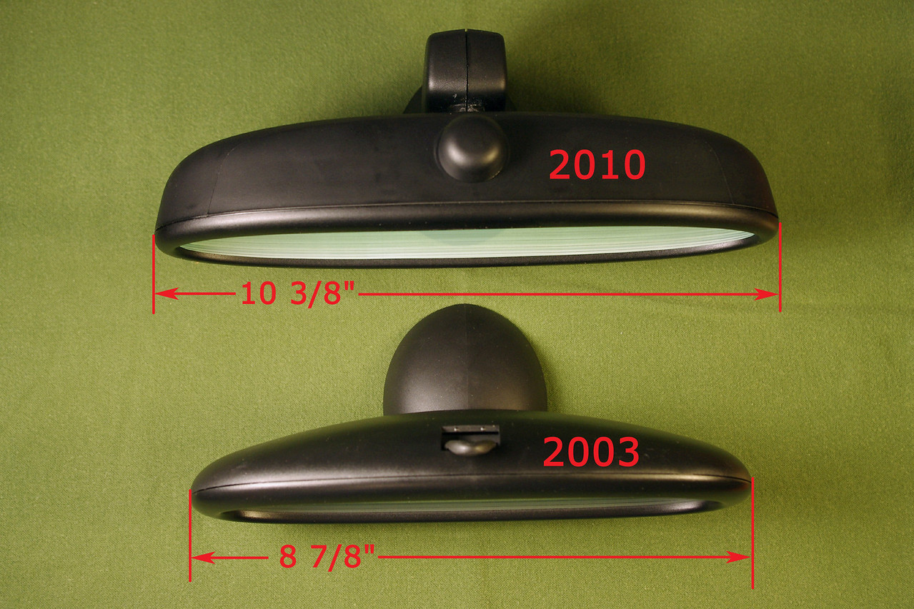 Comparison of the 2010 MINI rear view mirror from my R56; and the 2003 model I bought on eBay.