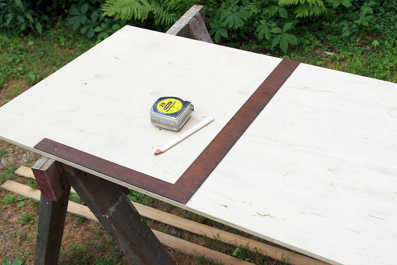 "The plywood for the platform can be cut from a 2 ft x 4 ft sheet. I chose 1/2"" baltic birch because it was available, has good working properties, and it cost no more than ordinary plywood at my local Lowes.<br /> <br /> Mark a centerline square to the long edge."