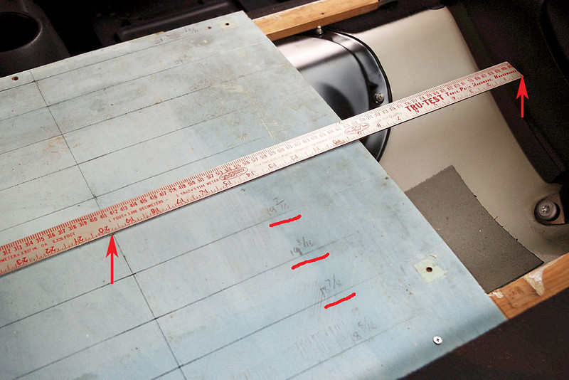 "To lay out the shape of the plywood platform, first cut a piece of stiff cardboard or thin plywood to measure about 22"" square to be used as a measuring aid.<br /> <br /> Mark a front-to-back centerline on the measuring panel, then mark off lines at right angles to the centerline, spaced about every 1.5"".<br /> <br /> Align the centerlines of the measuring board with the centerlines of the support sticks. It's a good idea to screw or staple the measuring panel to the support sticks to be sure they stay in alignment.<br /> <br /> Now you can position a yardstick at each of the parallel lines and take a measurement from the centerline over to the inside of the car (between red arrows). Mark each measurement on the panel. If your centerline marks really are on the true centerline of the car, you can measure only one side, and assume it's the same on the other side."