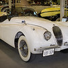 White 1954 Jaguar XK120 - 120 as in MPH. When the model was released in 1948 it was the world's fastest production car. In 1954 Jaguar raced an XK120 in the first Nascar road race in New Jersey - and won.. Route 66 Car Museum, Springfield, Missouri