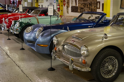 Route 66 Car Museum, Springfield, Missouri. From right: 1967 Ausrin Healy, 2005 Morgan Aero8, 1962 Triumph TR3B