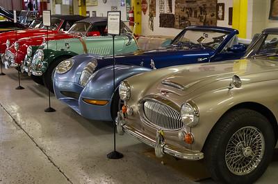 Route 66 Car Museum, Springfield, Missouri. From right: 1967 Ausrin Healy, 2005 Morgan Aero8, 1962 Triumph TR3B